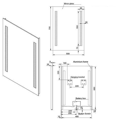 "main image of ""Snow 500 x 700mm Bathroom Battery Powered Illuminated LED Mirror(Type S)"""