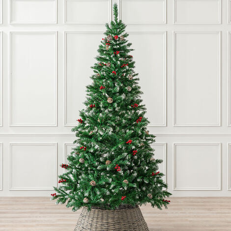 Snow Frosted Artificial Christmas Tree With Cones & Berries