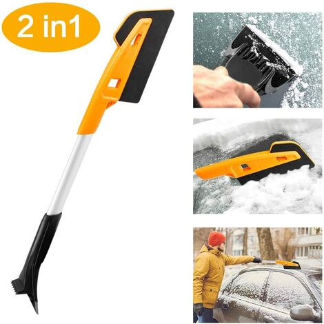 Snow Pusher, Snow Brush Snow Shovel, Detachable Ice Scraper with Snow Brush Windshield Cleaning Assistant for Cars