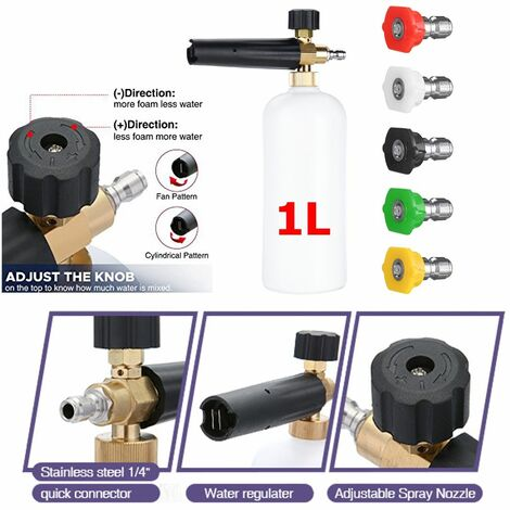 Snow Suds Lance Cannon Pressure Washer Gun Car Frother Washing Bottle And Adapter Set With Washer Nozzles Hose