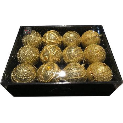 Snow White Luxury Bauble Set of 12 in Gold