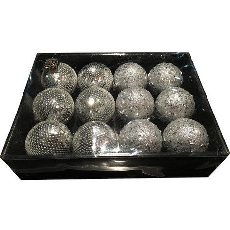 Snow White Luxury Bauble Set of 12 in Silver