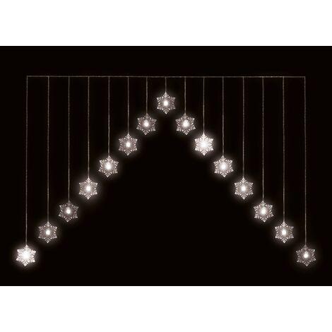 Snowflake Led Chevron Curtain 15 Bulb - 4ft - Warm White