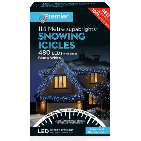 Premier 480 LED Snowing Icicles with Timer - Blue and White