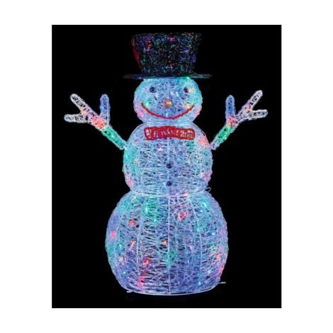 Snowman Acrylic Character 76cm with 88 Multi Coloured LED's