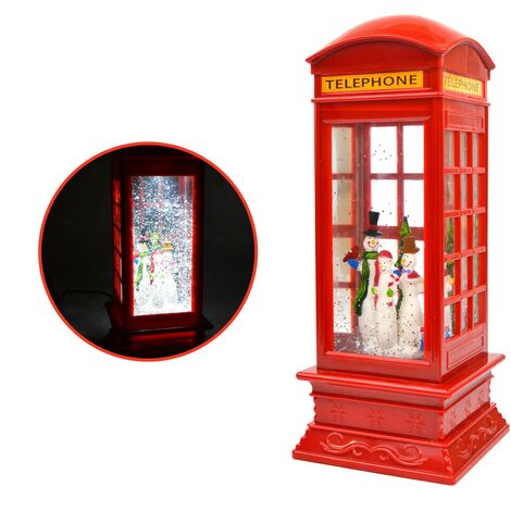 Snowmen LED Water Phone Box Snow Globe Christmas Decoration Battery Operated