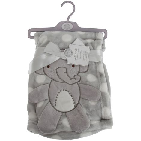 Snuggle Baby Baby Boys/Girls Polka-Dot Elephant Wrap (75cm x 100cm) (Grey/White)