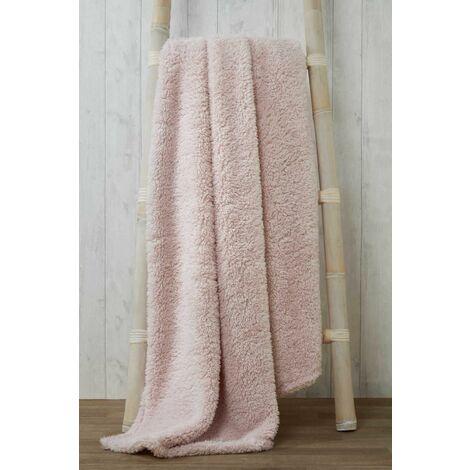 Snuggle Pink Fleece Blanket Soft Throw Over 200 x 240cm