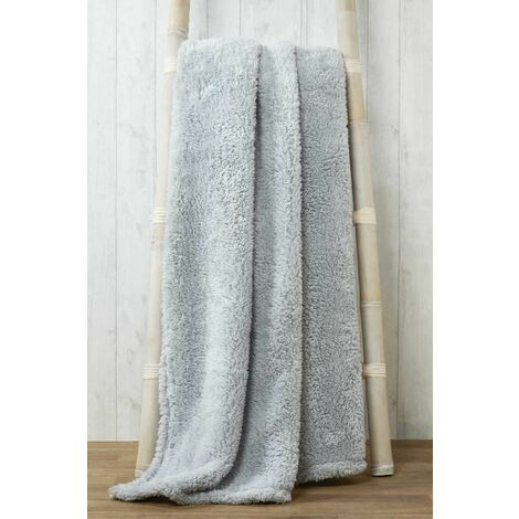 Snuggle Silver Fleece Blanket Soft Throw Over 200 x 240cm