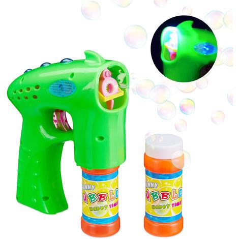Soap Bubble Gun LED Soap Bubble Blower Children Bubble Machine, Green