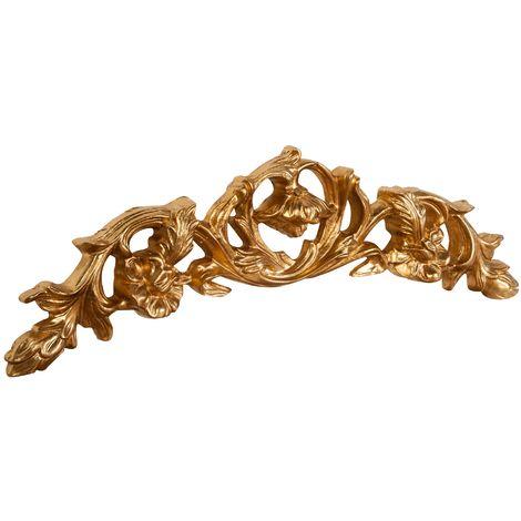 Sobre puerta de madera acabado hoja con efecto oro envejecido talla L75xPR5,5xH24 cm Made in Italy
