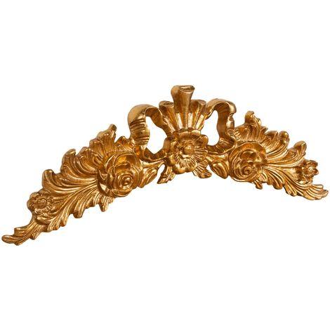 Sobre puerta de madera acabado hoja con efecto oro envejecido talla Made in Italy