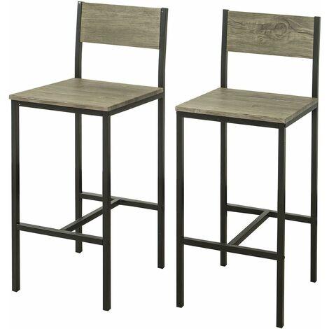 SoBuy 2-er Set Barhocker Barstühle mit Rücken-Lehne Thekenstühle mit Fußstütze, Sitzhöhe 67 cm FST53x2