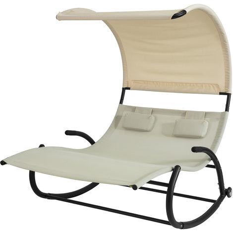 SoBuy 2 Person Outdoor Garden Patio Swing Bed, Rocking Sun Lounger,OGS50-MI