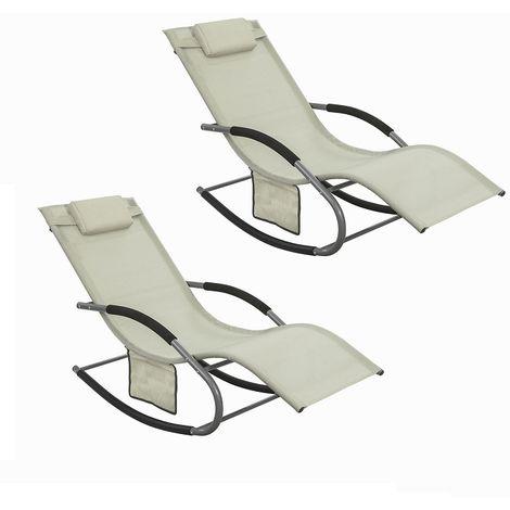 SoBuy 2 Sets Outdoor Patio Recliner Sun Lounger Rocking Chair Beige,OGS28-MIx2