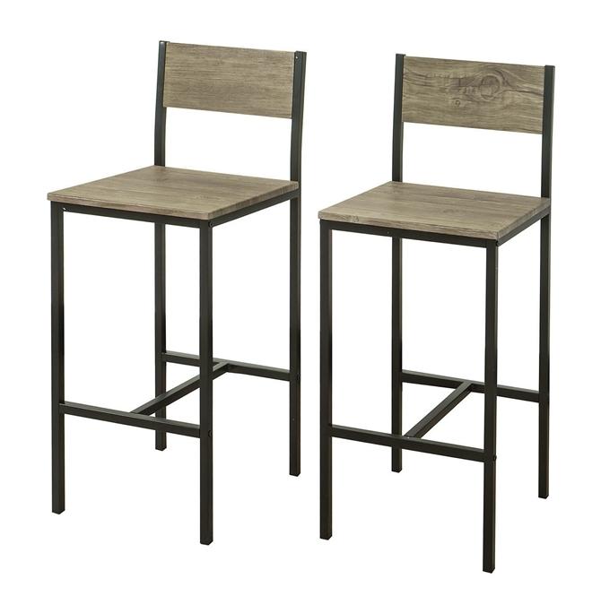 2 x Sedie metallo da bar Sgabelli cucina mobili da balcone con poggiapied,FST53X2 - Sobuy