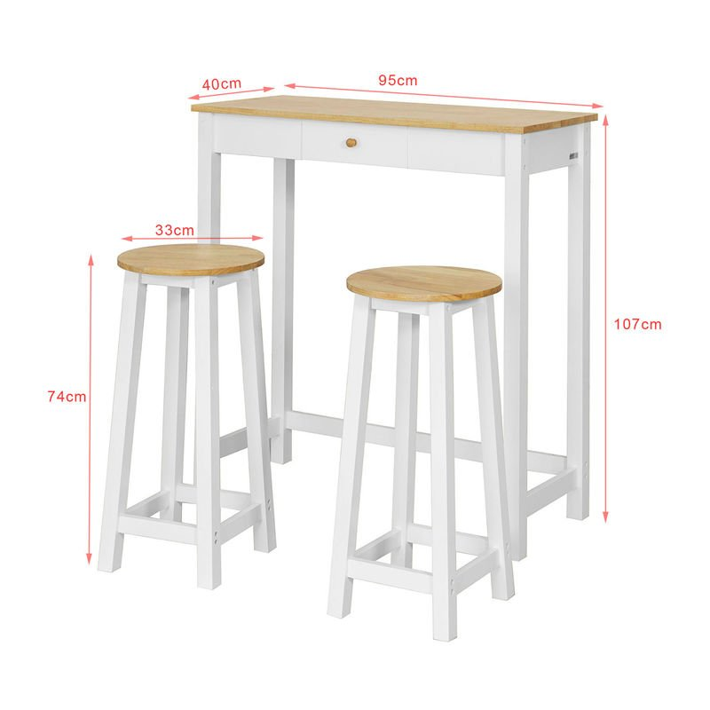 Sobuy 3 Pcs Kitchen Breakfast Dining Bar Set 1 Table And 2 Stools Fwt50 Wn