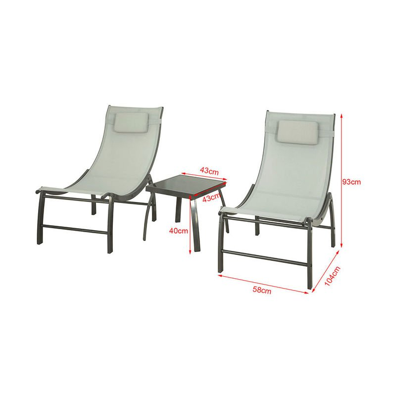 So 3 Pieces Outdoor Patio Garden Furniture Set 2 Chairs Side Table Ogs37 Hg