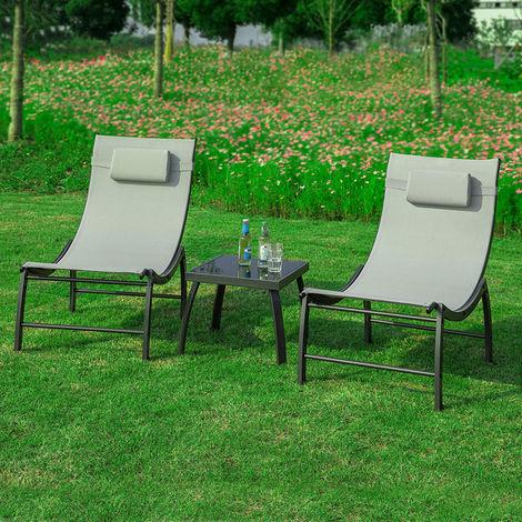Sobuy 3 Teilige Gartengruppe Sonnenliege 1 Tisch Und 2 Liegen