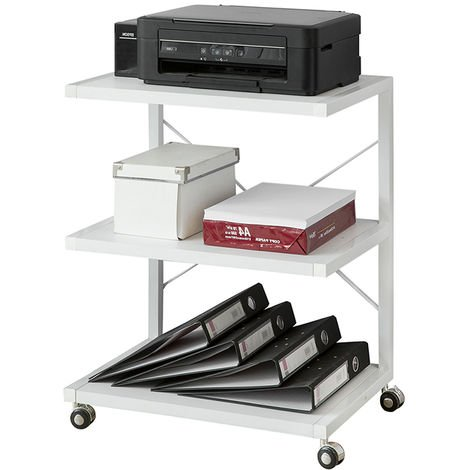 SoBuy 3 Tier Corner Shelf, End Table, Coffee Table with Casters FRG81-W