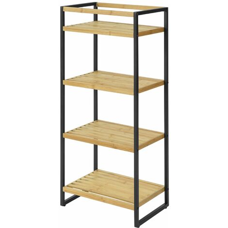 SoBuy 4 Tiers Bamboo & Metal Storage Display Shelf Rack Standing Shelf Unit,STR05-N