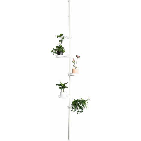 "main image of ""SoBuy 5-Tier Indoor Plant Stand Pole, Adjustable Flower Pots Holder Display Rack, Tension Rod Corner Storage Shelf, White,KLS09-W"""