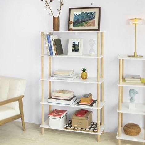 SoBuy 5 Tiers Storage Display Shelf Rack Standing Shelf Unit, Living Room Bathroom Shelf,STR04-WN