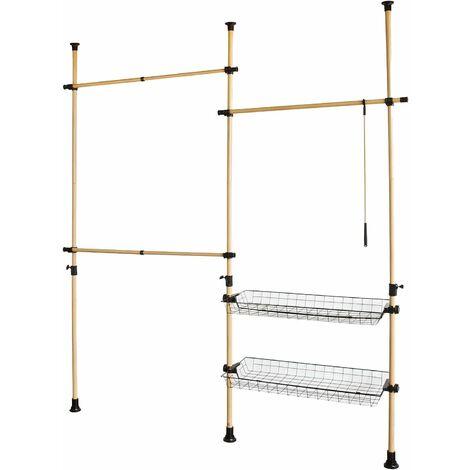 SoBuy Adjustabl Telescopic Wardrobe Organiser, Storage Hanging Rail,FRG106