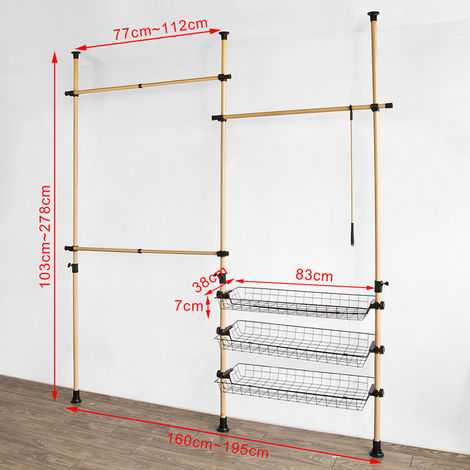 SoBuy Adjustabl Telescopic Wardrobe Organiser, Storage Hanging Rail,FRG106