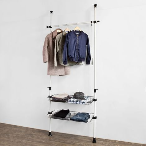 SoBuy Adjustable Telescopic Wardrobe Organiser Clothes Rack, Hanging Rail & 2 baskets,FRG107