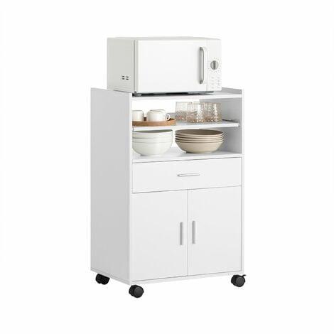 SoBuy® Aparador auxiliar bajo de cocina para microondas,con 2 puertas y 1 cajón,L59 cm x P40 cm x H92 cm,FSB09-W,ES