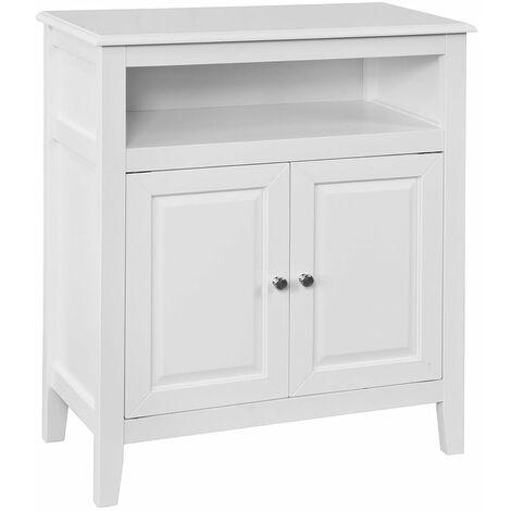 SoBuy® Armario bajo de baño,aparador con 2 puertas y estante,L 69 x P 33 x H 80cm,blanco,FRG204-W,ES