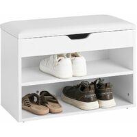 SoBuy Armario zapatero, Taburete, puff caja, banco, estantería para zapatos , Chifonier, blanco, FSR25-W