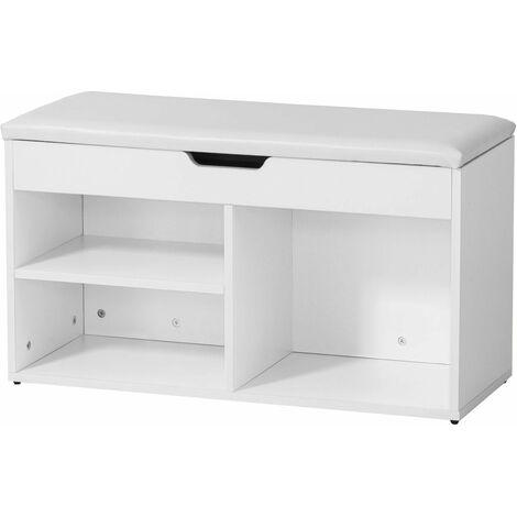 SoBuy® Armario zapatero, Taburete, puff caja, banco, estantería para zapatos ,Chifonier, blanco, FSR27-W,ES