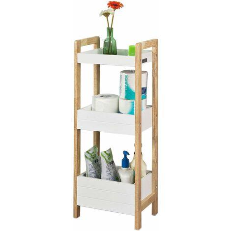 SoBuy Badregal in weiß/Bambus,Standregal,Küchenregal,FRG226-WN