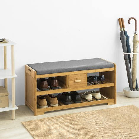 SoBuy Bamboo 2 Tiers Shoe Rack Shoe Bench with Seat Cushion, Hallway Shoe Storage Bench with Drawer,FSR75-N