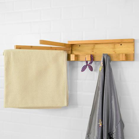 SoBuy Bamboo Bathroom Kitchen Towel Rail Coat Rack with Swivel Bars FHK11-N,UK