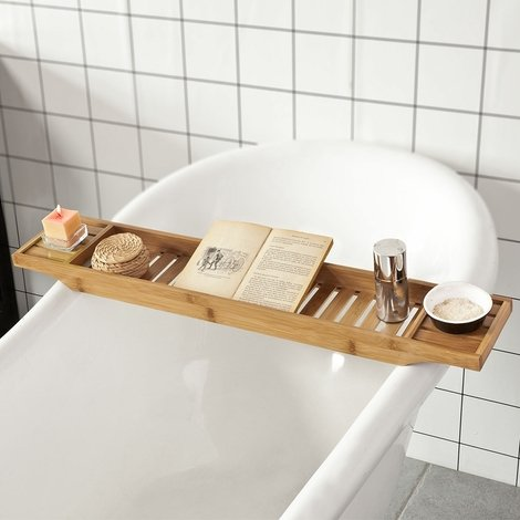 SoBuy Bamboo Bathtub Bridge Soap Dish and Shower Bathtub Sink Rack, FRG212-N