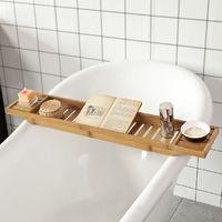 SoBuy Bamboo Bathtub Bridge Soap Dish and Shower Bathtub Sink Rack, FRG212-N