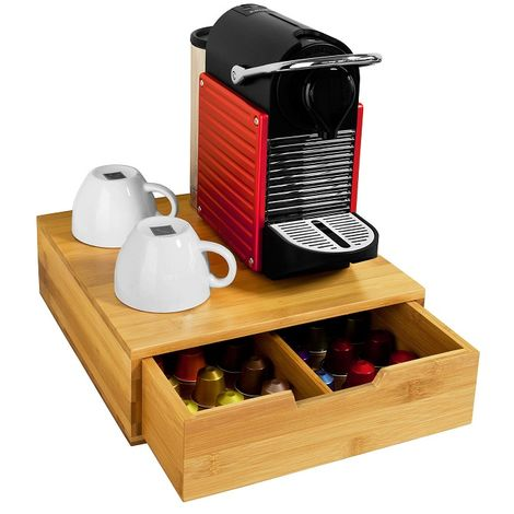 SoBuy Bamboo Coffee Pods & Capsules Teabags Drawer Organizer Holder,FRG70-N