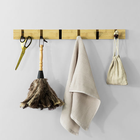 SoBuy Bamboo Hanger Wall Shelf with 6 Hooks,FHK15-N