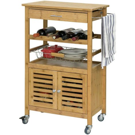 SoBuy Bamboo Kitchen Serving Trolley Storage Cart with Cabinet,FKW53-N