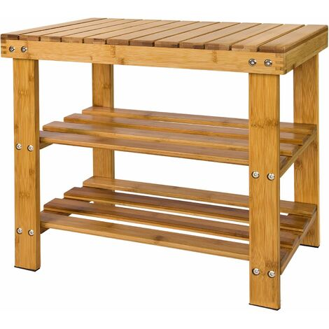 SoBuy Bamboo Shoe Rack with Seat on Top, Bathroom Shelf, L50cm, FSR02-K-N