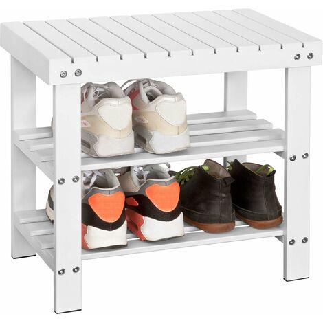 SoBuy Bamboo Shoe Rack with Seat on Top, Bathroom Shelf, L50cm, FSR02-K-W