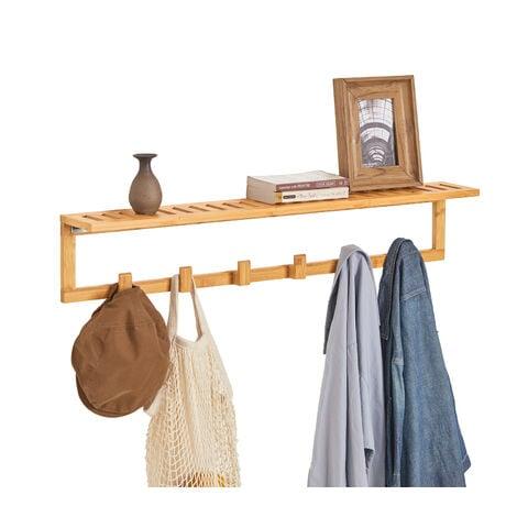 "main image of ""SoBuy Bamboo Wall Clothes Racks Shelf with 6 Hooks,FHK06-N"""