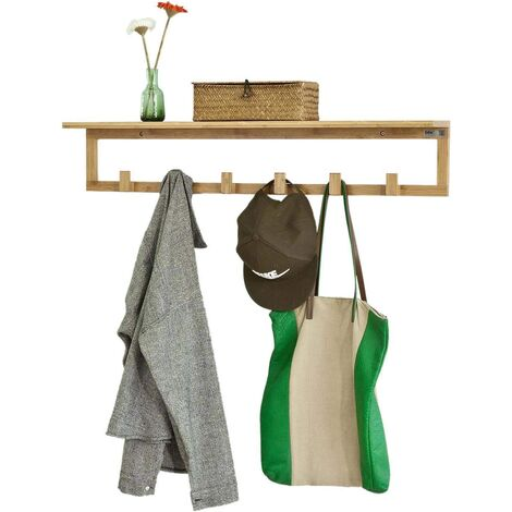 SoBuy Bamboo Wall Coat Rack Shelf with 6 Hooks,FHK06-N