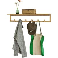 SoBuy Bamboo Wall Coat Rack Shelf with 6 Hooks,FHK06-N