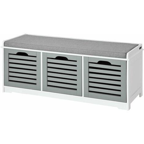 SoBuy® Banco de almacenamiento con acolchados cojines y 3 cubos, entrada zapato gabinete Dresser cómodo banco FSR23-HG, ES