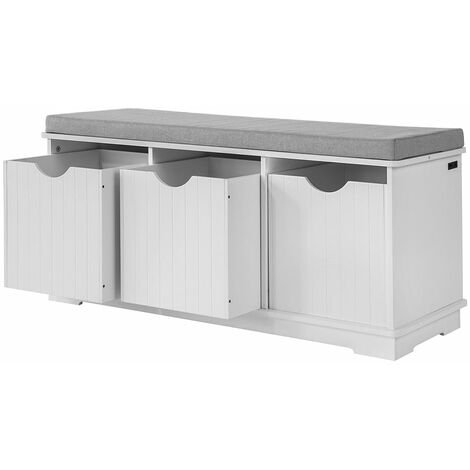 SoBuy® Banco de almacenamiento con acolchados cojines y 3 cubos, estante del zapato, FSR30-W, ES