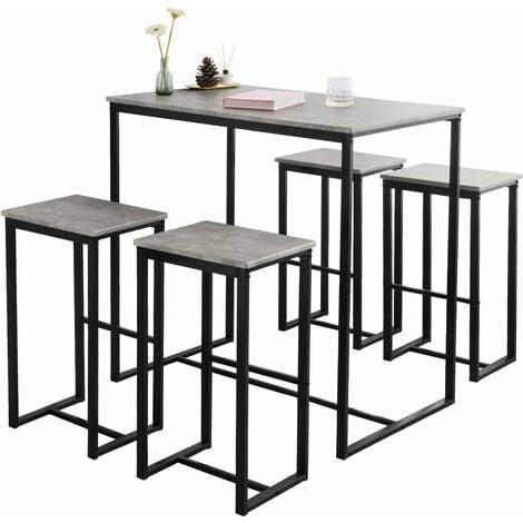 SoBuy Bar Set-1 Bar Table and 4 Stools, Home Kitchen Breakfast Bar Set Furniture Dining Set OGT15-HG